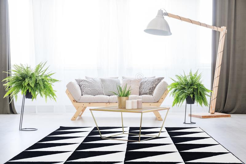 Day room interior with plants royalty free stock photos