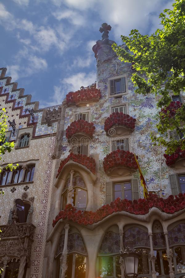 The Day of the Rose o The Day of the Book in Catalonia of Spain. Men gave women roses, and women gave men a book to celebrate the. Occasion. Facade Casa Batllo royalty free stock image