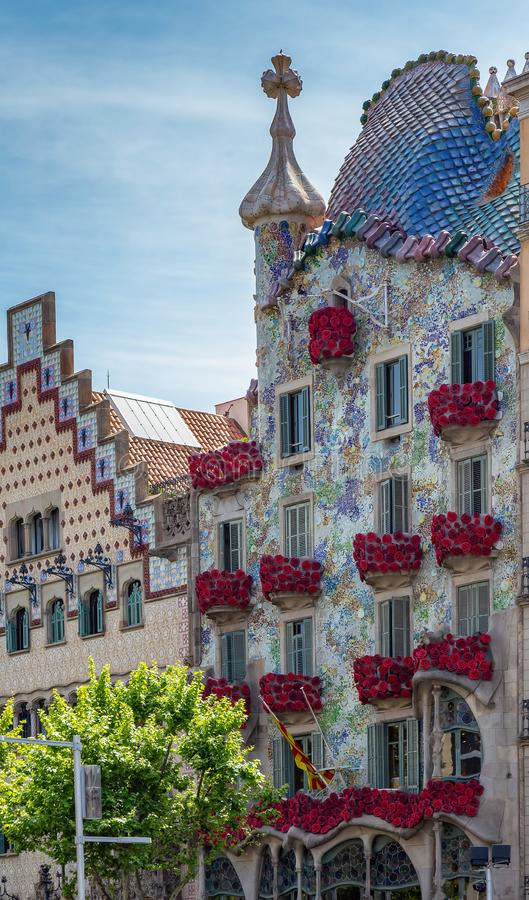 The Day of the Rose o The Day of the Book in Catalonia of Spain. Men gave women roses, and women gave men a book to celebrate the. Occasion. Facade Casa Batllo royalty free stock photos
