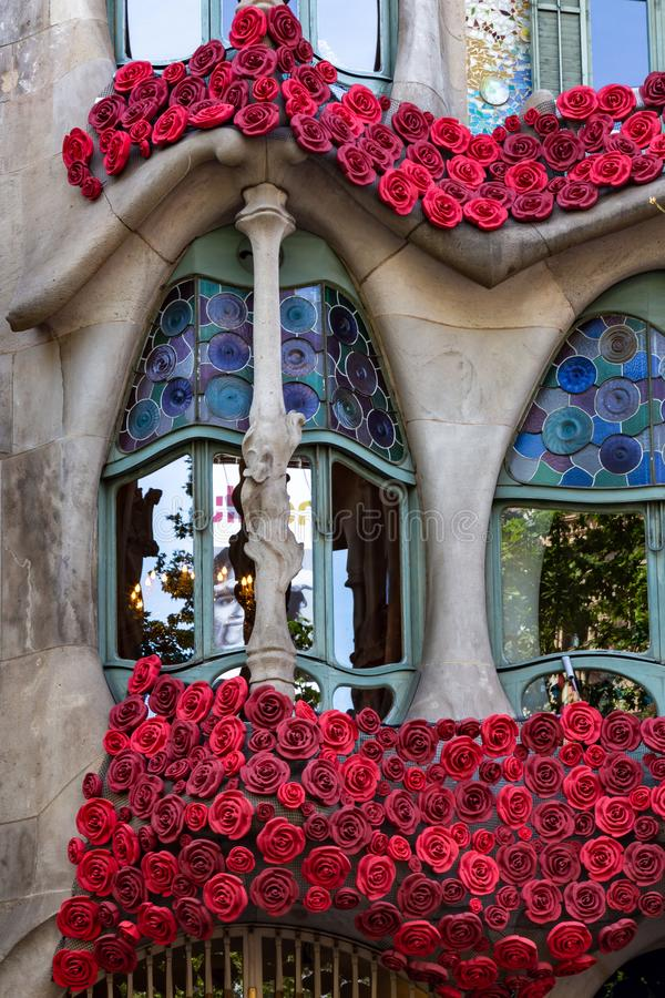 The Day of the Rose o The Day of the Book in Catalonia of Spain. Men gave women roses, and women gave men a book to celebrate the. Occasion. Facade Casa Batllo stock images
