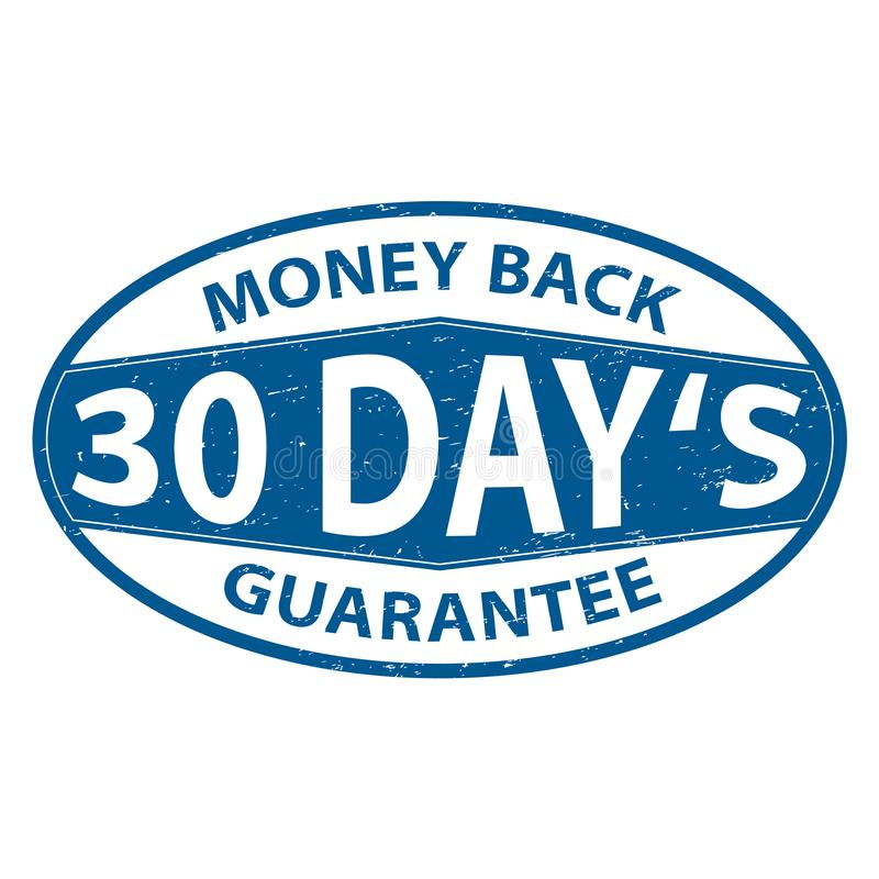 30 day`s money back guarantee round blue rubber stamp grungy illustration stock illustration