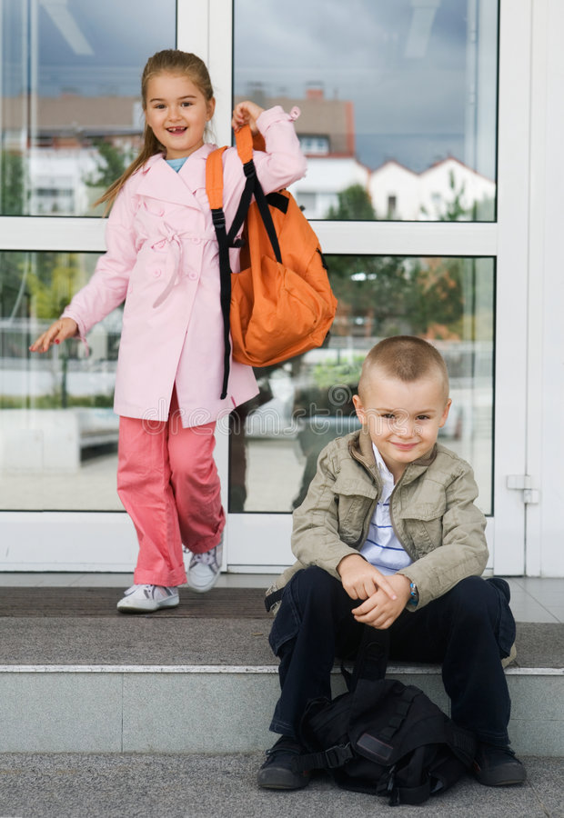 Day at school. Primary school students on the first day of school royalty free stock images