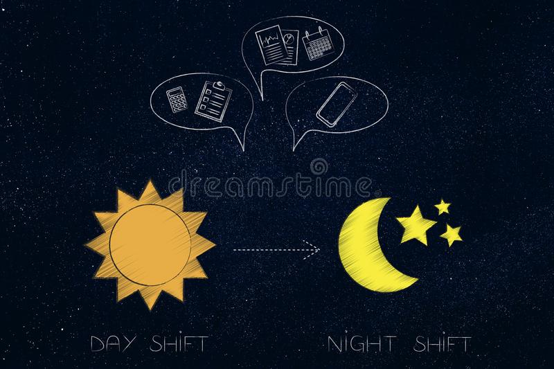 Office Day And Night Stock Vector Illustration Of Life