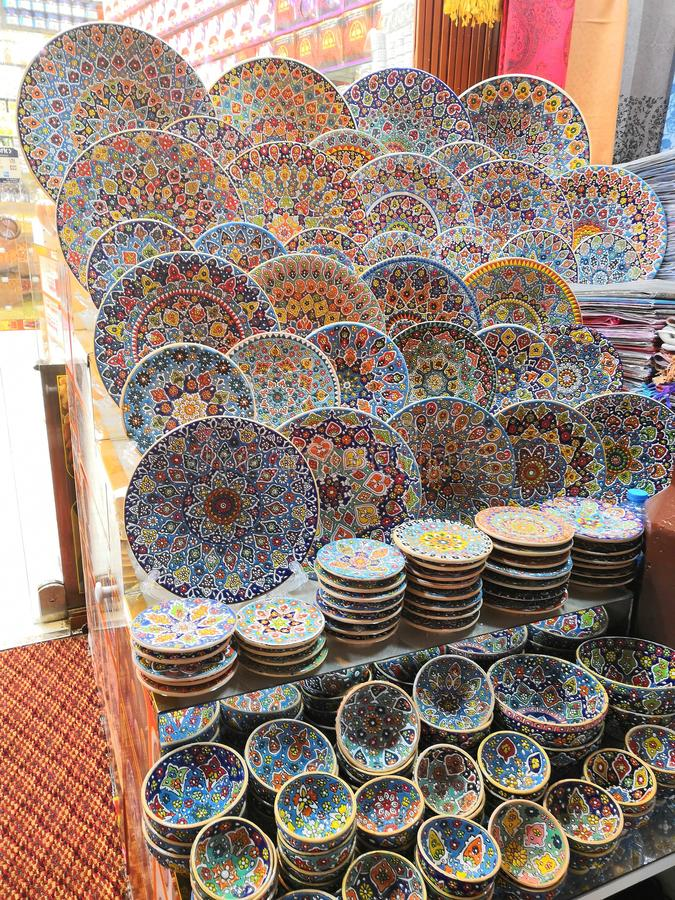 Day at the souk. Smacap_Bright plates colourful culture art traditional Moroccan souk royalty free stock photos