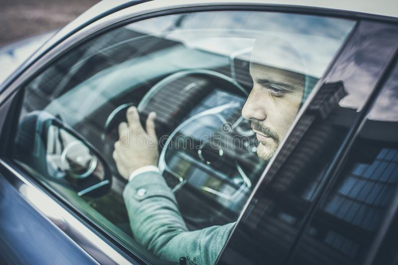 Day start in car. stock images