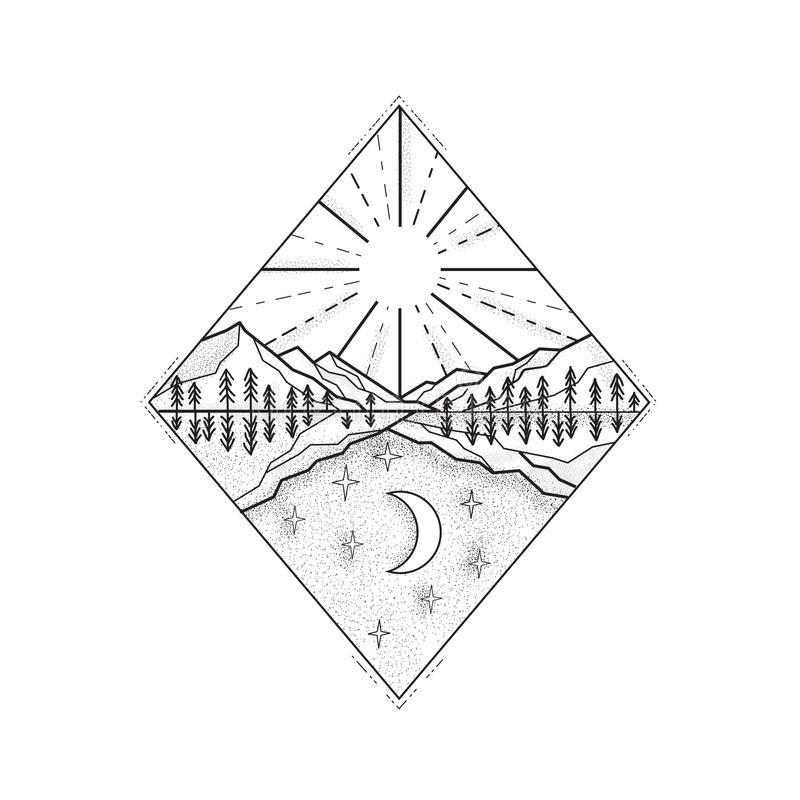 Day Sun and Night Moon Monoline. Mono line illustration of a day and night symbol with sun and mountains on top and stars and moon below set inside diamond done stock illustration