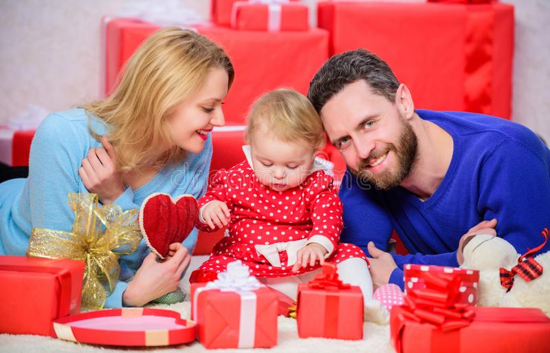 Day to celebrate their love. Couple in love and baby girl. Valentines day concept. Together on valentines day. Lovely. Family celebrating valentines day. Happy stock photos