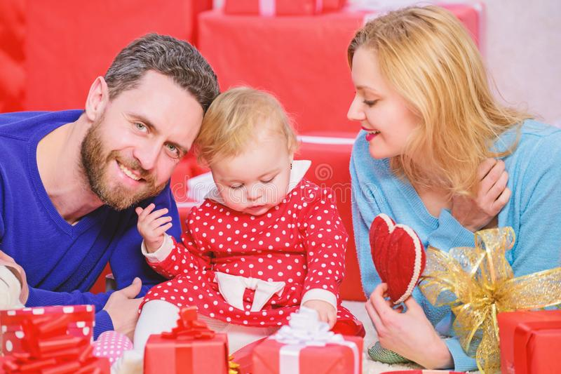 Day to celebrate their love. Family celebrate anniversary. Couple in love and baby girl. Valentines day concept. Together on valentines day. Lovely family royalty free stock photos