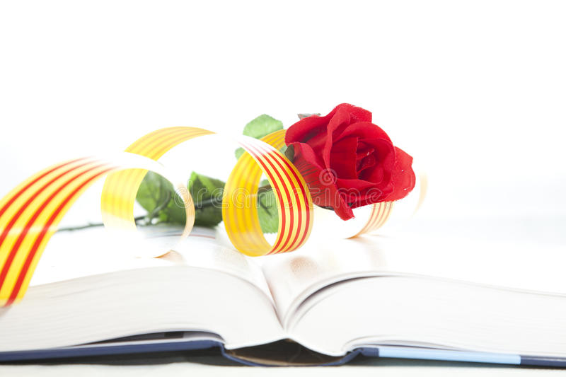 Book Day. It is a day that they traditionally Catalunya couples a rose i give away a book stock image