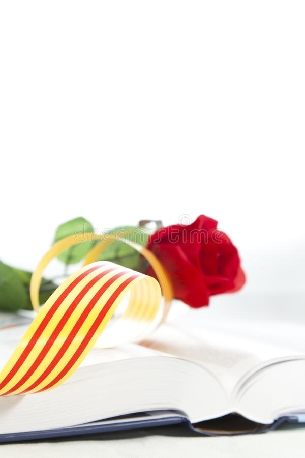 Book Day. It is a day that they traditionally Catalunya couples a rose i give away a book royalty free stock photos