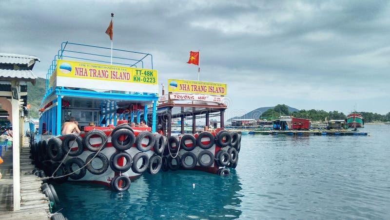 Day trip boats at Nha Trang, Vietnam royalty free stock photo