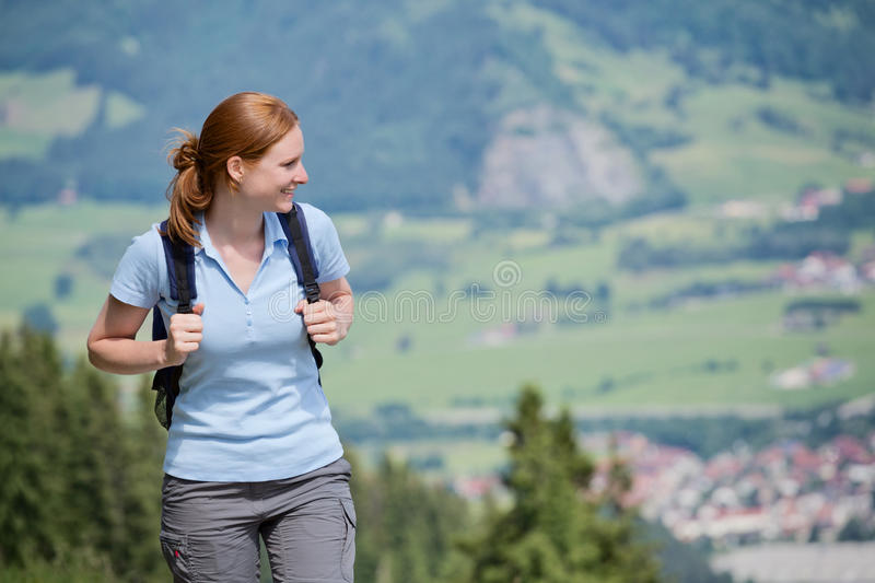 Day Trip in Mountains - Woman with Backpack stock images