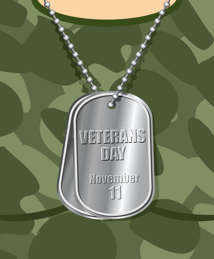Day veteran. Army badge on his chest from soldier. Military t-sh royalty free illustration