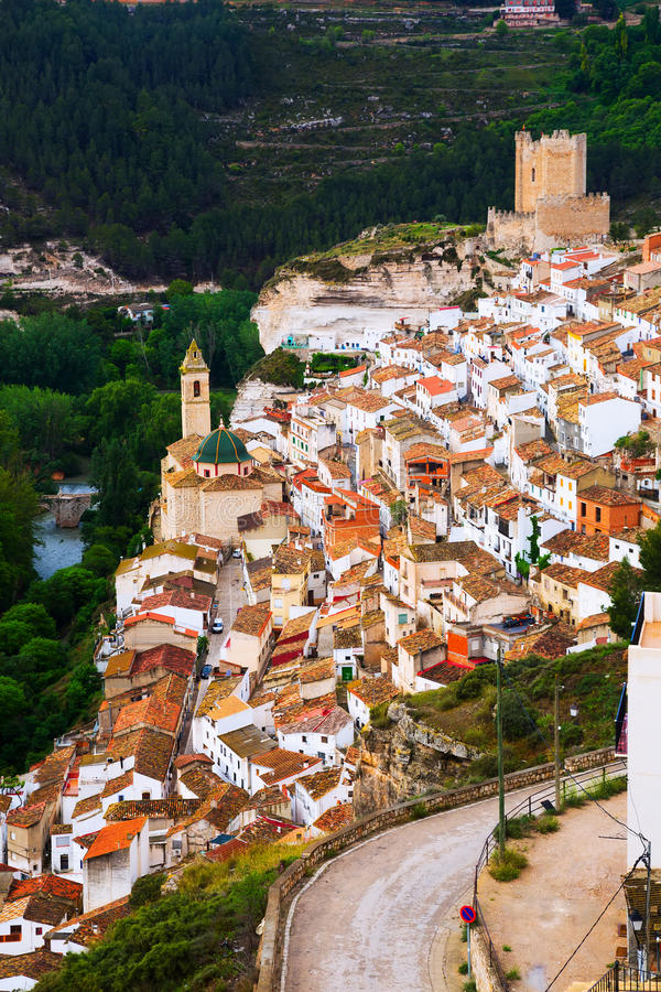 Day view of Alcala del Jucar. With castle stock photos
