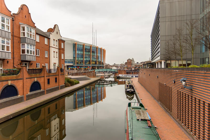 Day View of boat canal in Coventry City Centre stock images