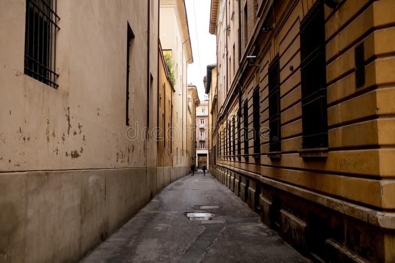 Day view of Bologna city classic alleys known as stock photo