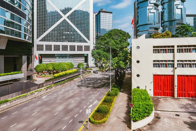 Day view of the central city street. Hong Kong royalty free stock image