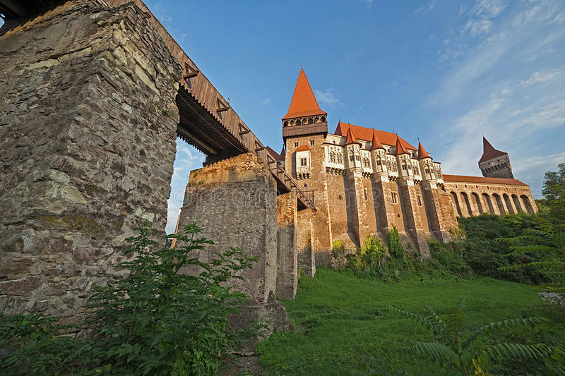 Day view on Corvin castle 1. Day view on Corvin castle, one of famous Romanian landmarks located in Transylvania, also related to Dracula names and vampires stock photo