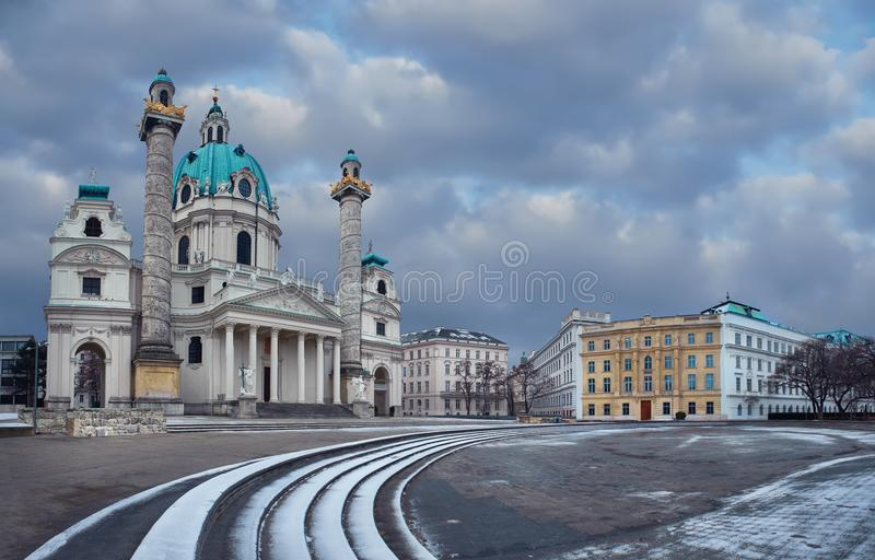 Day view of Karlskirche church of St. Charles in Vienna with s stock photos