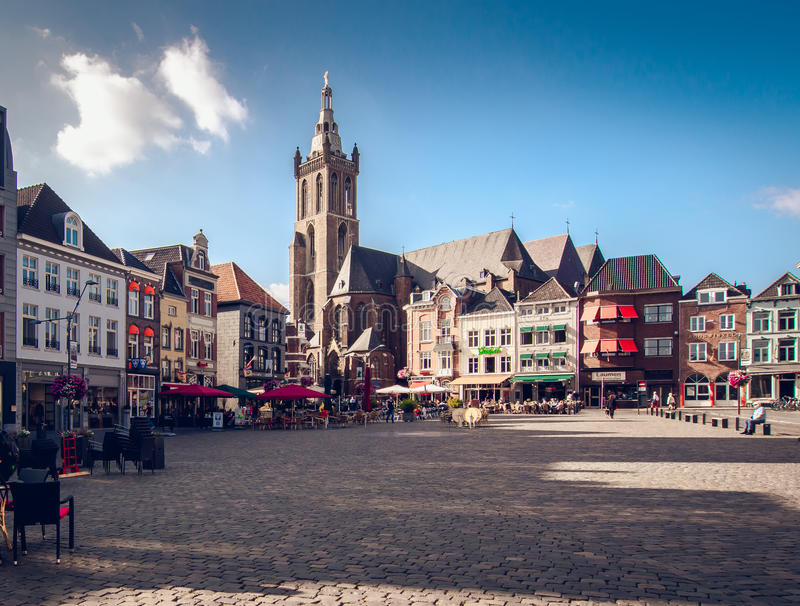 Day view of market square. Roermond. Netherlands. Roermond, Netherlands-september 12, 2014: Day view of market square, it is popular touristic place, it is lined stock photography