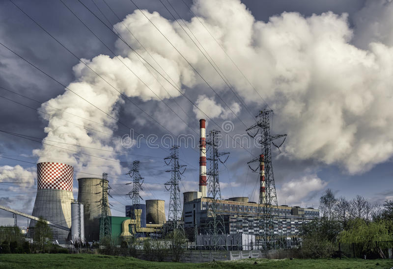 Day view of power plant stock images
