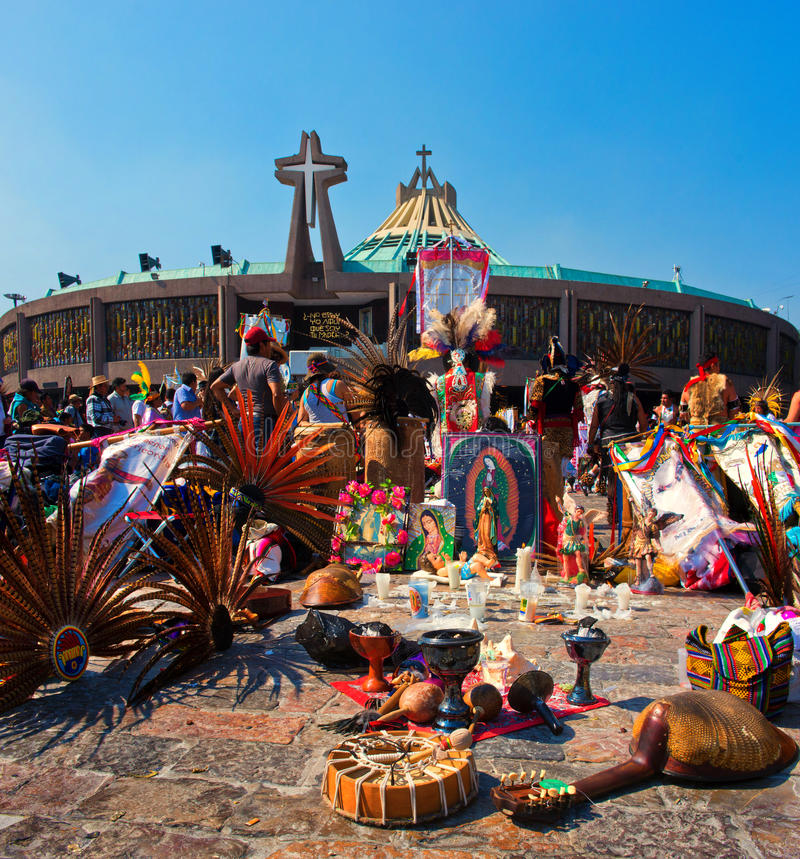Day of the Virgin of Guadalupe in Mexico City. Mexico City, Mexico - December 12, 2016: Celebration of the Day of the Virgin of Guadalupe with a mass ceremony in royalty free stock photo