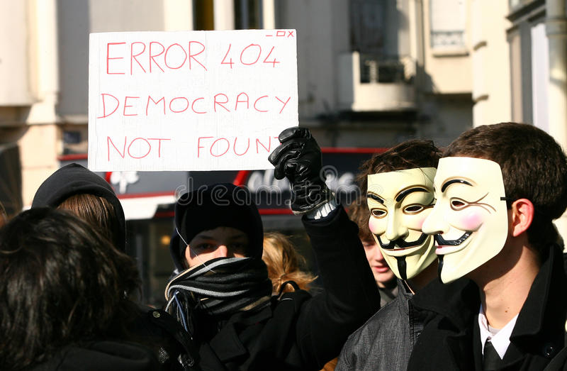 Day of world demonstration against acta stock photo