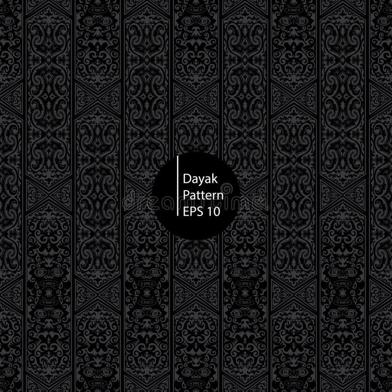 Dayak Borneo deseniowy czarny tło zdjęcie royalty free