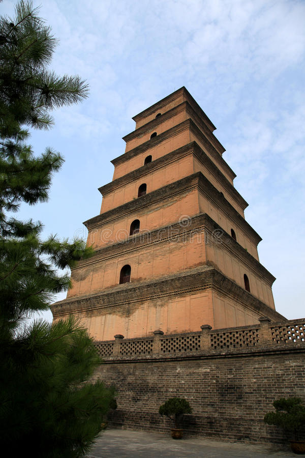 Dayan tower , Big Wild Goose Pagoda. Big Wild Goose Pagoda built in the Tang dynasty ( AD 652 ), dating back more than 1300 years. It is located in Xi'an city stock photos
