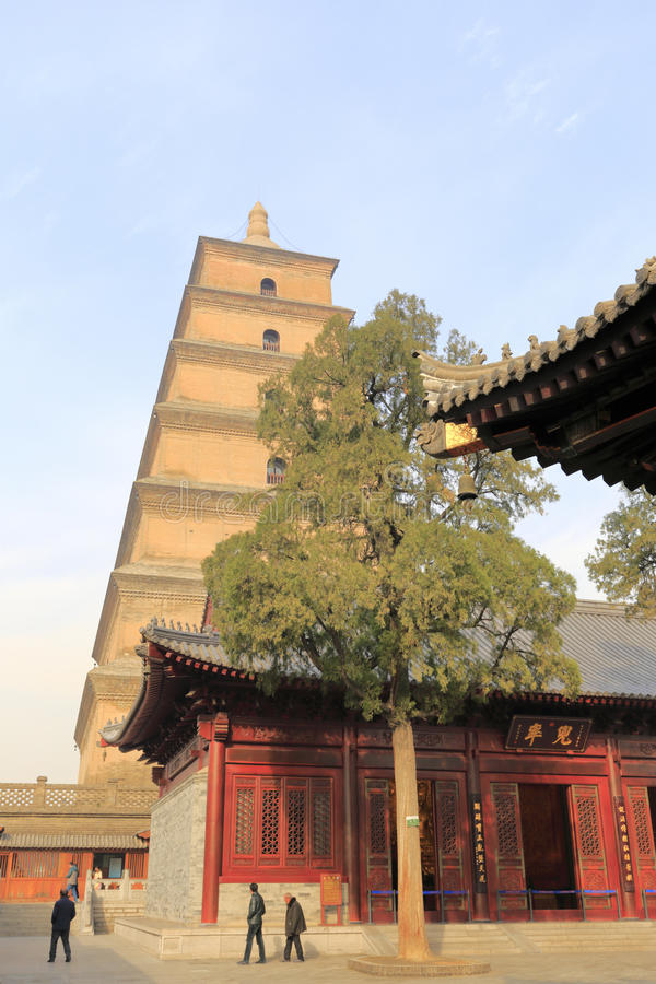 Dayanta tower, adobe rgb. Dayan tower scenic area of xian city, shanxi province, china. big wild goose pagoda is in the great mercy temple. in 652, monk xuanzang stock photos