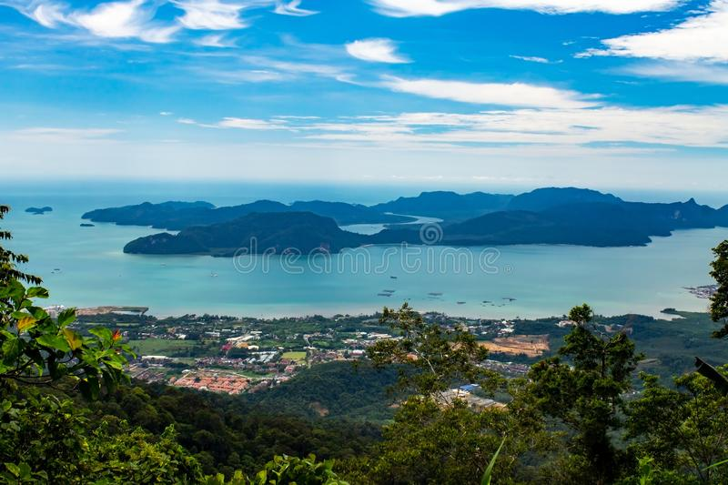 Dayang Bunting island from the top of Gunung Raya Mountain, the highest point in Langkawi island, state of Kedah, Malaysia. Dayang Bunting island, the Pregnant stock photography