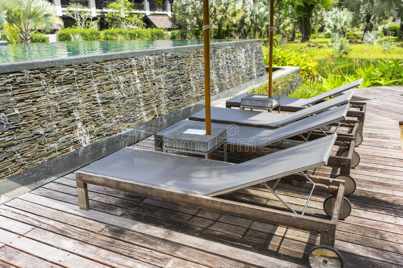 Daybed place on wooden terrace stock photo