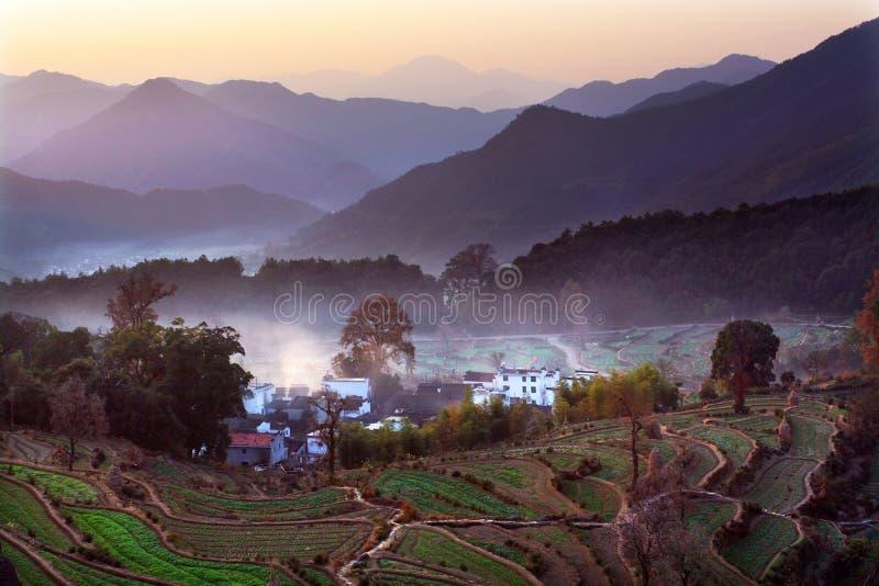 Daybreak. Beautiful village before the daybreak stock photography