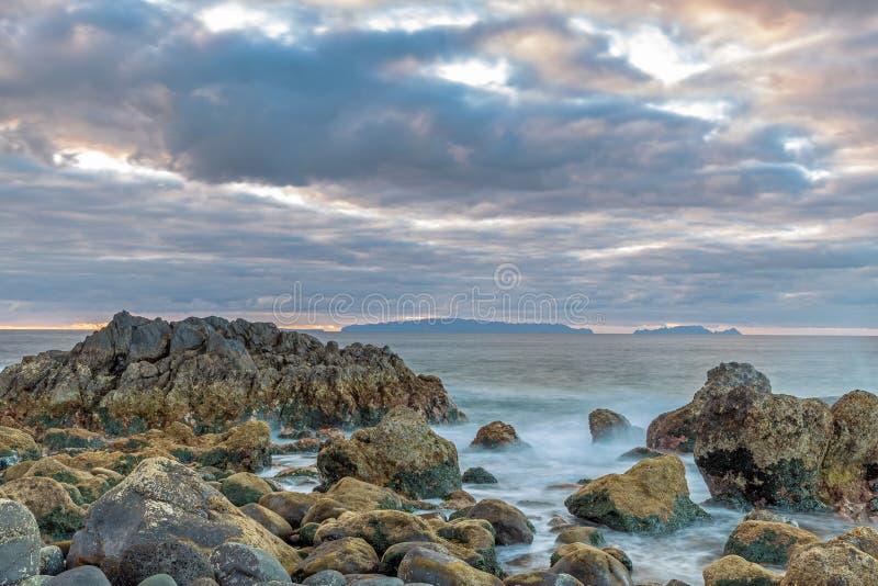 Daybreak op de kust van Madeira stock afbeeldingen