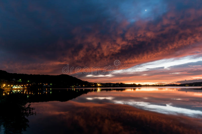 Download Daybreak Over The Bay With Reflections Stock Image - Image: 91321531