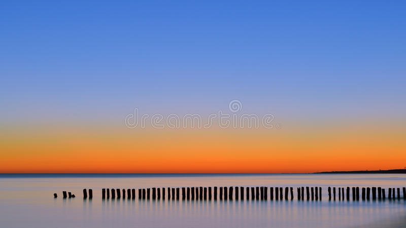 The daybreak the sea. Daybreak the sea two hours before sunrise royalty free stock photo