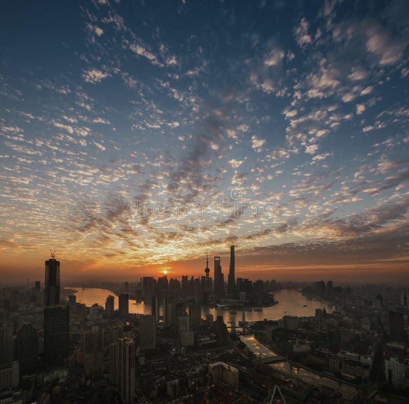 Daybreak of Shanghai royalty free stock photo