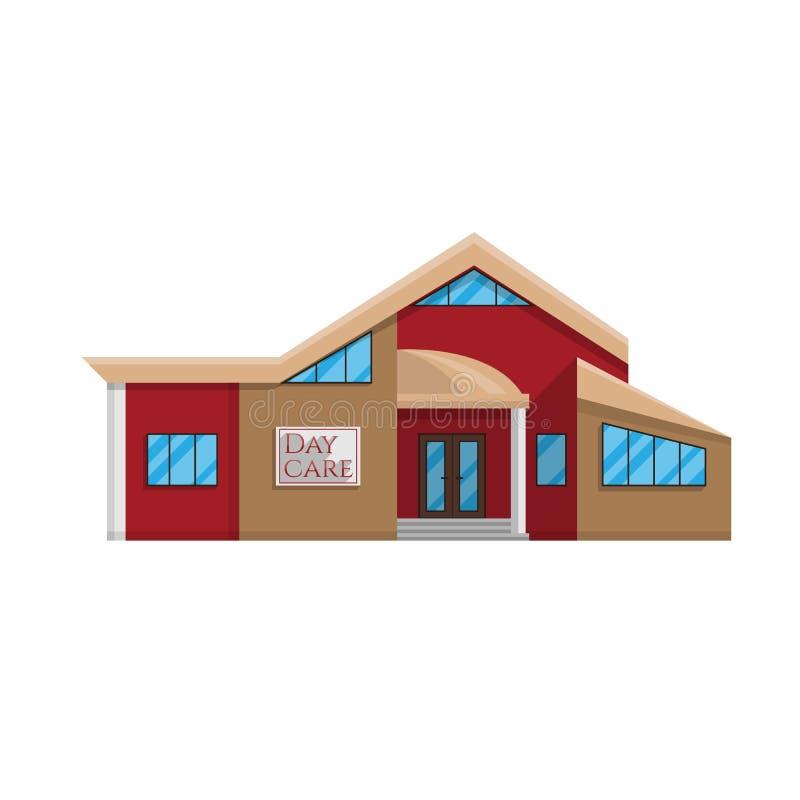 Daycare budynek w mieszkanie stylu odizolowywającym na białym tle ilustracji