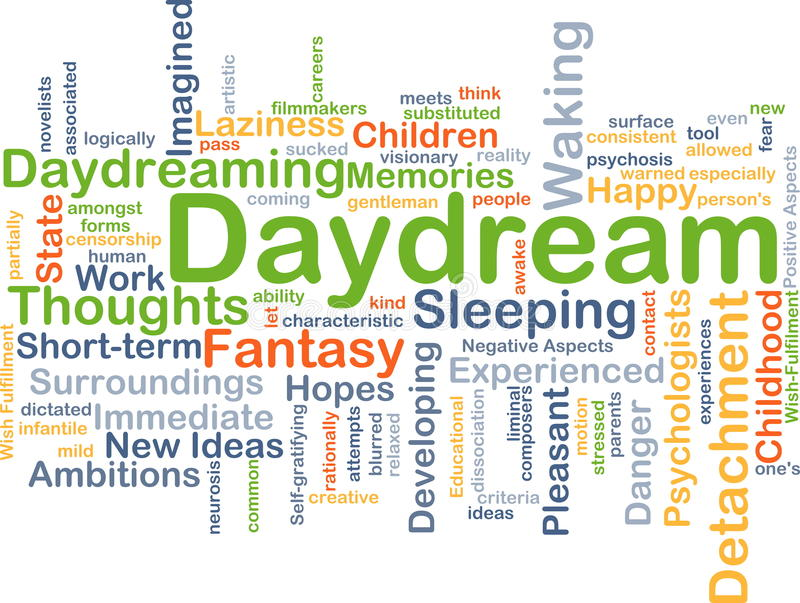 Daydream background concept. Background concept wordcloud illustration of daydream stock illustration