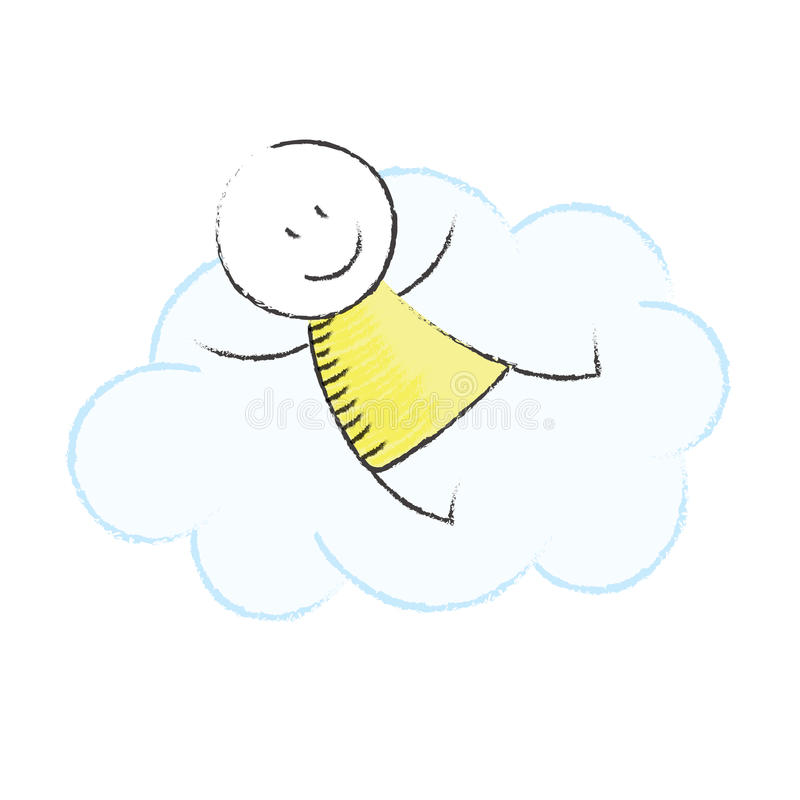 Daydream. Doodle boy sitting on a cloud stock illustration