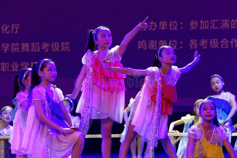 Daydream the starry sky- Beijing Dance Academy grading test outstanding children`s dance teaching achievement exhibition Jiangxi. Sponsored by the Beijing Dance royalty free stock photos