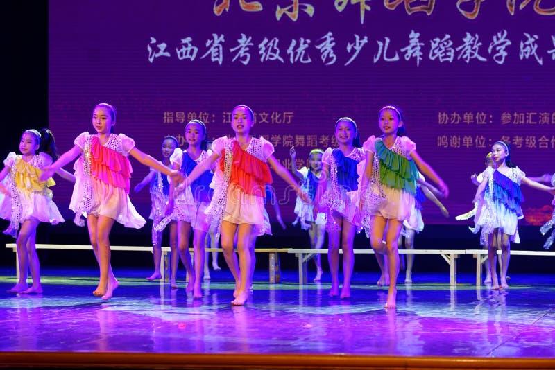 Daydream the starry sky- Beijing Dance Academy grading test outstanding children`s dance teaching achievement exhibition Jiangxi. Sponsored by the Beijing Dance stock image