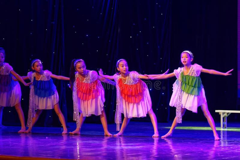 Daydream the starry sky- Beijing Dance Academy grading test outstanding children`s dance teaching achievement exhibition Jiangxi. Sponsored by the Beijing Dance royalty free stock images