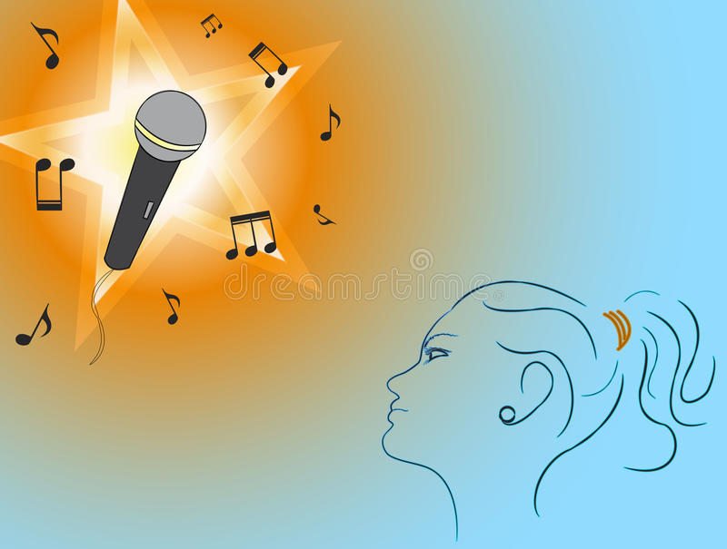DayDream. A young girl wants to become a popular music star stock illustration