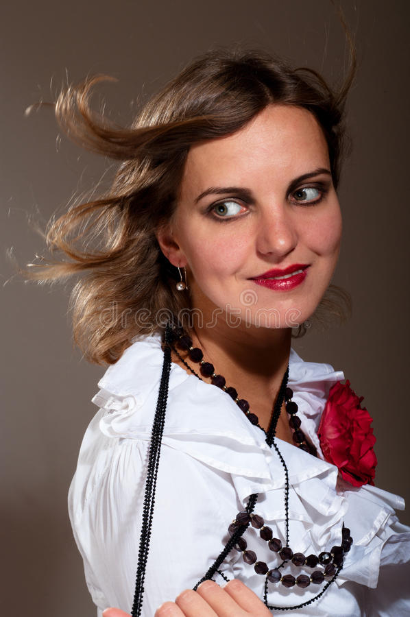 Download Daydreamed Woman In White Blouse Royalty Free Stock Photos - Image: 21607338