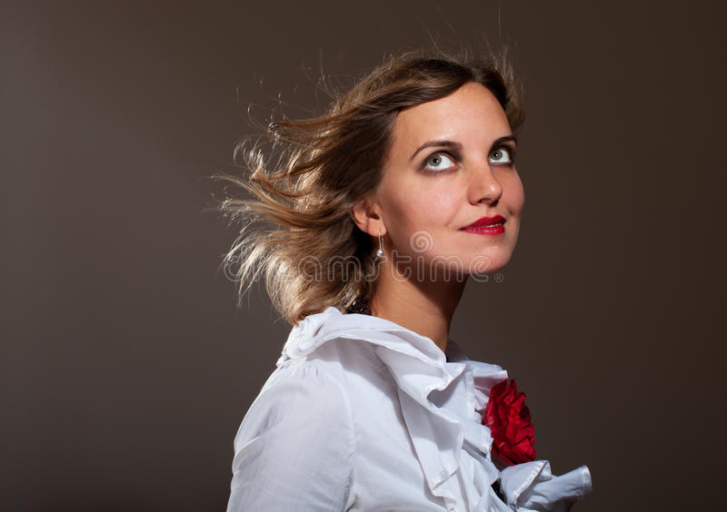 Download Daydreamed Woman In White Blouse Stock Image - Image: 21810879