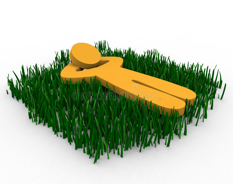 Daydreaming in the Grass. Figure lying in a grassy field daydreaming royalty free illustration
