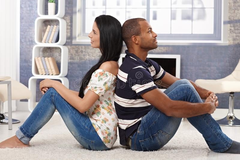 Download Daydreaming Happy Couple At Home Stock Image - Image: 31218893