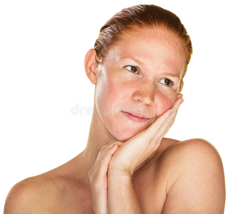Daydreaming Woman with Bare Shoulders stock photos