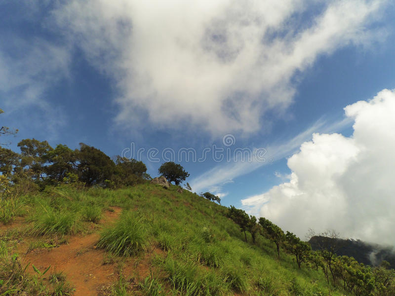 Daylight landscape on the mountains with blue sky and cloud background. royalty free stock photo